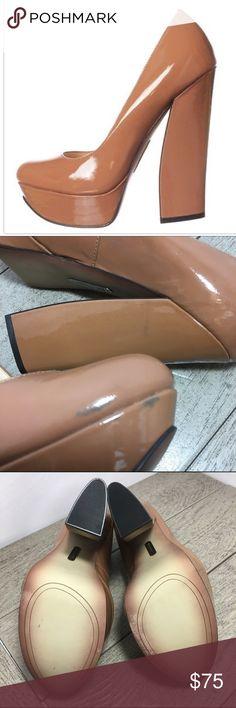 "Boutique 9 Emmarae Platform Pump Dark Natural Sz 8 New! Has minor marks (pictured) 5.5"" block heels Boutique 9 Shoes Heels"
