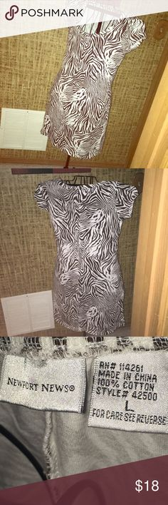 "Women's Newport News T-Shirt Dress Zebra Print Getting ready for the summer season, t-shirt dress semi fitted , zebra print, measurements are 181/2 "" inches pit to pit and 37"" inches top to bottom lenght, super soft, comfy and easy wear, short sleeves. Newport News Dresses"