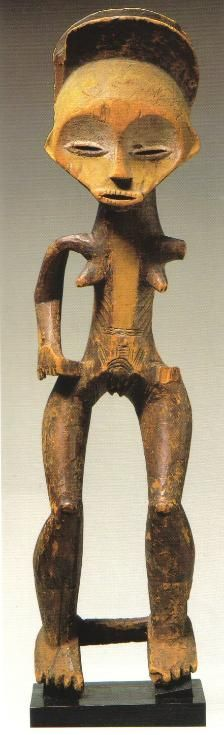 Hanging figure Mbole Zaire wood h. 69.5 cm In the collection of the Museum of Ethnography, Antwerp, AE673