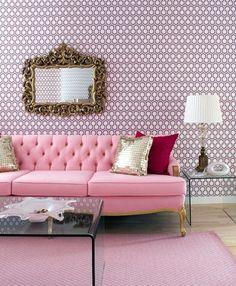 Gina Kates: Brandon Barre Photography - Venetian mirror, pink wallpaper, pink tufted sofa, metallic ...