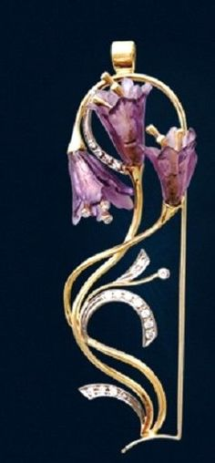 Pendant bells – female jewelry from yellow and white gold with diamonds and amethysts in the Art Nouveau
