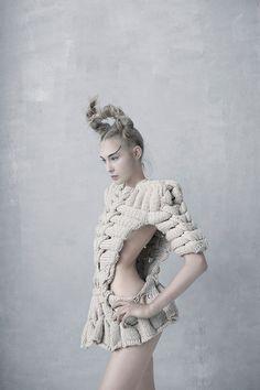 Artistic Knitwear Design with intricate interlocking design; sculptural fashion // Sandra Backlund