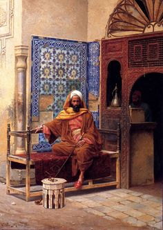 The Smoker :: Ludwig Deutsch - scenes of Oriental life ( Orientalism) in art and painting Jean Leon, Empire Ottoman, Arabian Art, Images And Words, Ludwig, Arabian Nights, Renoir, North Africa, Islamic Art