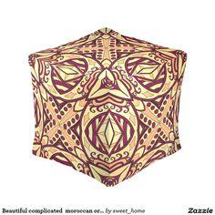 Beautiful complicated  moroccan ornament. cube pouf make interior unique and add aesthetics sense. Ornament create in oriental tradition. #Home #decor #Room #Interior #decorating #Idea #Styles