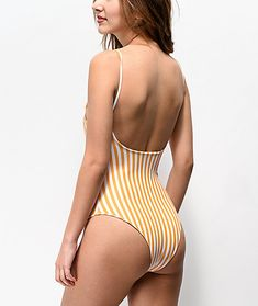 Give your beach-ready looks some old school flair, with the Kulani Kinis Yellow & White Striped One Piece Swimsuit. Featuring mild support and moderate coverage, this one-piece has a scoop back, low neckline and fixed spaghetti straps for an ideal middle Striped One Piece, Beach Ready, Vertical Stripes, Swimsuits, Swimwear, Spaghetti Straps, Color Patterns, One Piece Swimsuit, Middle
