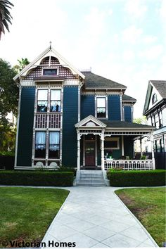 Restoring Turn-of-the-Century L.A - The exterior of the house is painted in a deep green, high-gloss oil paint because the California sunshine will fade the color within a few years. The Thornbergs used Victorian colors; the brick-red color highlights the architectural details of the wood trims.