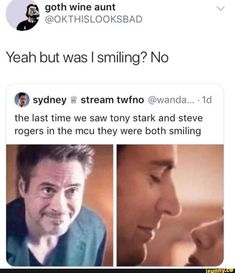No 0 sydney &: stream twfno the last time we saw tony stark and steve rogers in the mcu they were both smiling - iFunny :) Funny Marvel Memes, Marvel Jokes, Dc Memes, Avengers Memes, Avengers Imagines, Marvel Avengers, Marvel Dc Comics, Avengers 2012, Loki