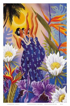 size: Giclee Print: The Blossoms are Opening - Hawaiian Hula Dancers by Warren Rapozo : Entertainment This exceptional art print was made using a sophisticated giclée printing process, which deliver pure, rich color and remarkable detail. Hawaiian Dancers, Hawaiian Art, Hawaiian Tattoo, Vintage Hawaiian, Hawaiian Decor, Hawaiian Tribal, Hawaiianisches Tattoo, Hawaii Hula, Street Art