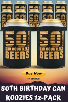 Pack of 12 pieces for Koozies – Favors and fantastic decorations! 50th Birthday Party Ideas For Men, 50th Birthday Party Decorations, 50th Party, Dad Birthday, Fifty Birthday, Fiftieth Birthday, Birthday Sayings, Birthday Candy, Birthday Images