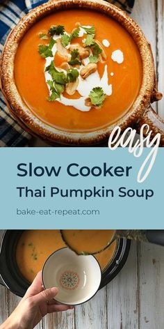 This easy to make, slow cooker Thai pumpkin soup is a bit spicy, a bit creamy, and absolutely amazing. The perfect meal for a cold fall day! #soup #slowcooker #pumpkinrecipe Lunch Recipes, Crockpot Recipes, Breakfast Recipes, Vegetarian Recipes, Chicken Recipes, Dinner Recipes, Healthy Recipes, Recipe Videos, Food Videos