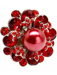RED CRYSTAL & FAUX PEARL FLOWER LADIES FASHION STRETCH RING - Pearl Rings - Rings - Jewellery