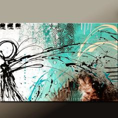 Embracing Chaos - NEW Abstract Modern  Art Painting on Canvas 36x24 by wostudios on Etsy, $129.00