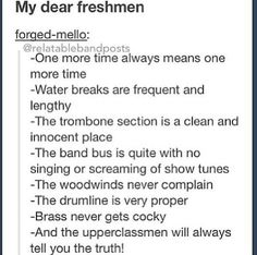 I'm a freshman but I'm in my third year of high school band and I'm getting my Letterman in the spring. I'll The the first freshman to ever get their Letterman and I was the first seventh grader to ever e in high school band Marching Band Problems, Marching Band Memes, Flute Problems, Marching Band Trombone, Band Nerd, Music Jokes, Music Humor, Band Jokes, Band Puns