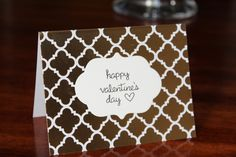 Handmade Valentine's Day Card/Gold and White Card/Happy Valentine's Day/Unique/Free Shipping by TresorValeur on Etsy