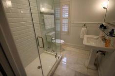 ryankosarek: bathroom  Restoration Hardware bathroom with beveled subway tile and Carrara marble ...