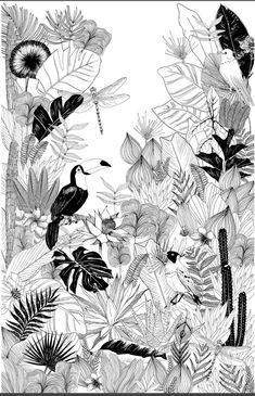 Hand drawn pencil floral pattern in black and white Art Print Wall Drawing, Art Drawings, Mural Art, Wall Murals, Art Blanc, Inspiration Wand, Diy Wall Art, White Art, Art Inspo