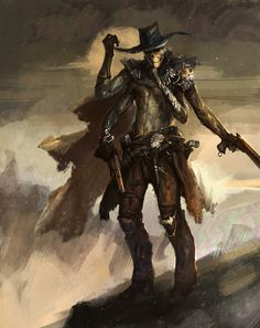 Drifter by Tsabo6 age Past skeleton gunslinger western cowboy assassin undead monster beast creature animal | Create your own roleplaying game material w/ RPG Bard: www.rpgbard.com | Writing inspiration for Dungeons and Dragons DND D&D Pathfinder PFRPG Warhammer 40k Star Wars Shadowrun Call of Cthulhu Lord of the Rings LoTR + d20 fantasy science fiction scifi horror design | Not Trusty Sword art: click artwork for source