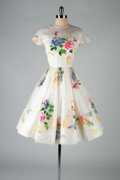 1950's Ivory Organza Hand Painted Flowers Dress