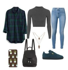 """""""Geen titel #132"""" by anoukvos ❤ liked on Polyvore featuring 7 For All Mankind, Madewell, Topshop, Puma and rag & bone"""