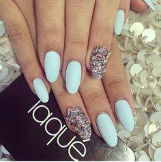Matte light blue, silver sparkle