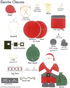 laura's frayed knot: Paper-Punch art - Santa