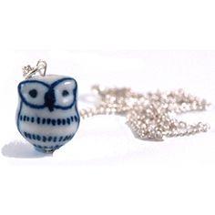 Blue & White Porcelain Owl Necklace