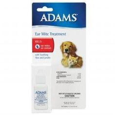 Adams Ear Mite Treatment for Dogs & Cats. Adams Ear Mite Treatment kills ear mites on contact. With soothing Aloe and Lanolin. Active ingredient Pyrethrin. Can be used on Dogs and Cats. Size: 0.5 ounces.