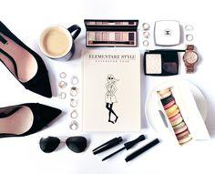 fashion flatlay, beauty, book, elementarz stylu, coffee