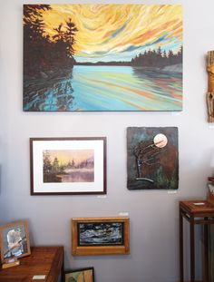 Wall Display at the Ethel Curry Gallery. Artworks by Barb Teneycke, William Cornwall, Leo Sepa, Peter Dymont, Noelia Marziali, and Wayne Hooks.