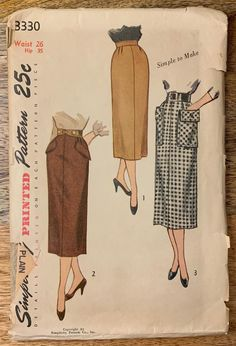 Skirt Patterns Sewing, Vintage Dress Patterns, Simplicity Sewing Patterns, Skirt Sewing, 50s Vintage, Vintage Skirt, Pocket Pattern, Retro Pattern, Fashion Design Sketches