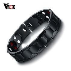 check price vnox magnetic therapy bracelet men jewelry black power stainless steel bracelets bangles #magnetic #jewelry