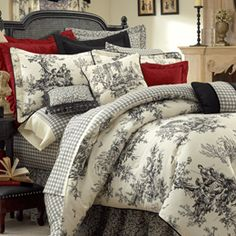 Toile Bedding, Toile Comforters & Bed Sets in Black & White, Red, Blue and Green Toile de Jouy: The Home Decorating Company