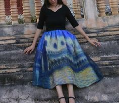 Fine Art Collection Van Gogh midnight in Paris blue theme oil painting organza puffy gorgeous princess skirt