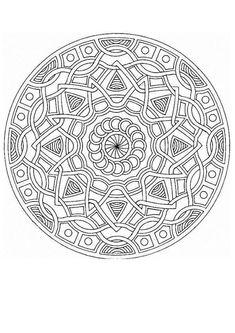 Dibujo para colorear : Mandala Trenzas y estrellas