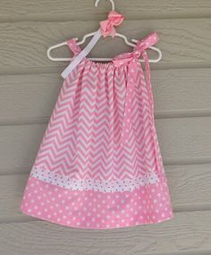 Pink and White Chevron Polka Dot Pillowcase Dress