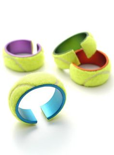 German designer Elke Munkert makes more traditional jewellery but it's her sweeties line of tennis ball inspired bracelets and rings that caught my eye. I like the combination of hard anodised aluminium with the soft almost-fur of the tennis ball fabric. Tennis Party, Le Tennis, Tennis Tips, Tennis Cake, Tennis Funny, Tennis Lessons, Tennis Gear, Tennis Shirts, Tennis Dress