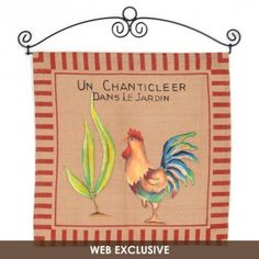 """French Rooster Wall Tapestry- French script reads, """"Un Chanticleer Dans Le Jardin,"""" which translates to """"A Rooster In The Garden."""" #kirklands #cookininstyle #french #rooster #tapestry"""
