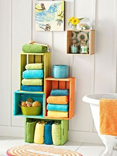 painted crates for bathroom items