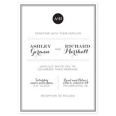 Black and white modern wedding invitations. Comes in your wording and choice of colors. Lots of cardstock options to choose from.