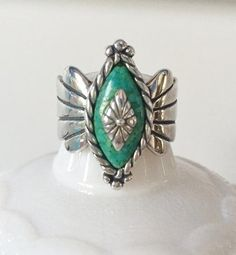 Southwestern Sterling Green Turquoise Ring Carlisle by FrannieBee