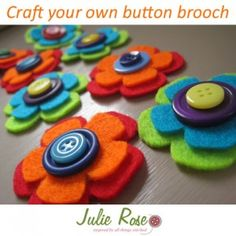 felt and button flowers-- Wolf Electives: Gardening