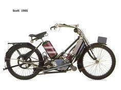 Scott 1905 motorcycle  Cool! Looks like a barbershop on wheels!