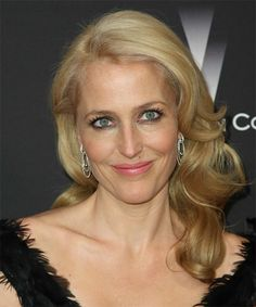 Gillian Anderson Hairstyle - Formal Long Wavy. Click on the image to try on this hairstyle and view styling steps!