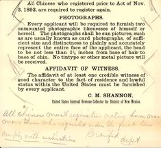 Chinese American Resident Registration