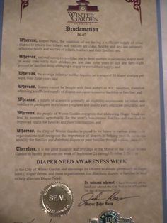 WINTER GARDEN, FL - Mayoral Proclamation recognizing Diaper Need Awareness Week (Sep. 26 - Oct. 2, 2016) Diaperneed.org #Diaperneed