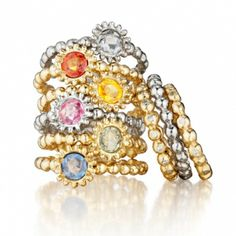 Sweet Pea Stacking Rings In Yellow Gold or White Gold - Diamond, Blue Sapphire, Orange Sapphire, Pink Sapphire, & Yellow Sapphire from Aston Royal