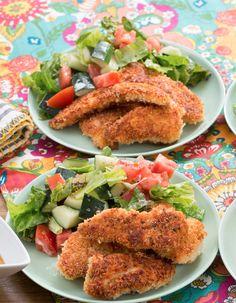 Recipe: Crispy Chicken Tenders with Honey Mustard & Tomato-Cucumber Salad - Blue Apron Crispy Chicken Tenders, Chicken Cutlets, Cooking Recipes, Healthy Recipes, Cooking Ideas, Healthy Meals, Honey Mustard Sauce, Blue Apron, Cucumber Salad