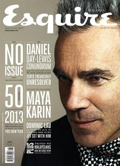 Cover titling made interesting. Daniel Day-Lewis for Esquire Malaysia January 2013 Magazine Cover Layout, Magazine Front Cover, Magazine Covers, Magazine Rack, Editorial Layout, Editorial Design, Magazine Design, Daniel Day, Design Brochure