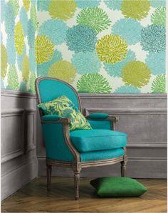 Turquesa con verde tapiz