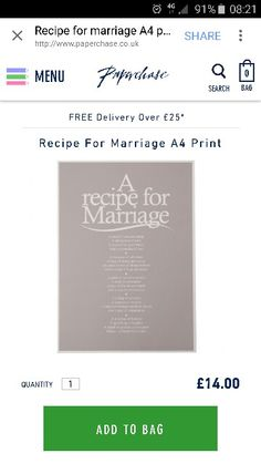 A recipe for marriage